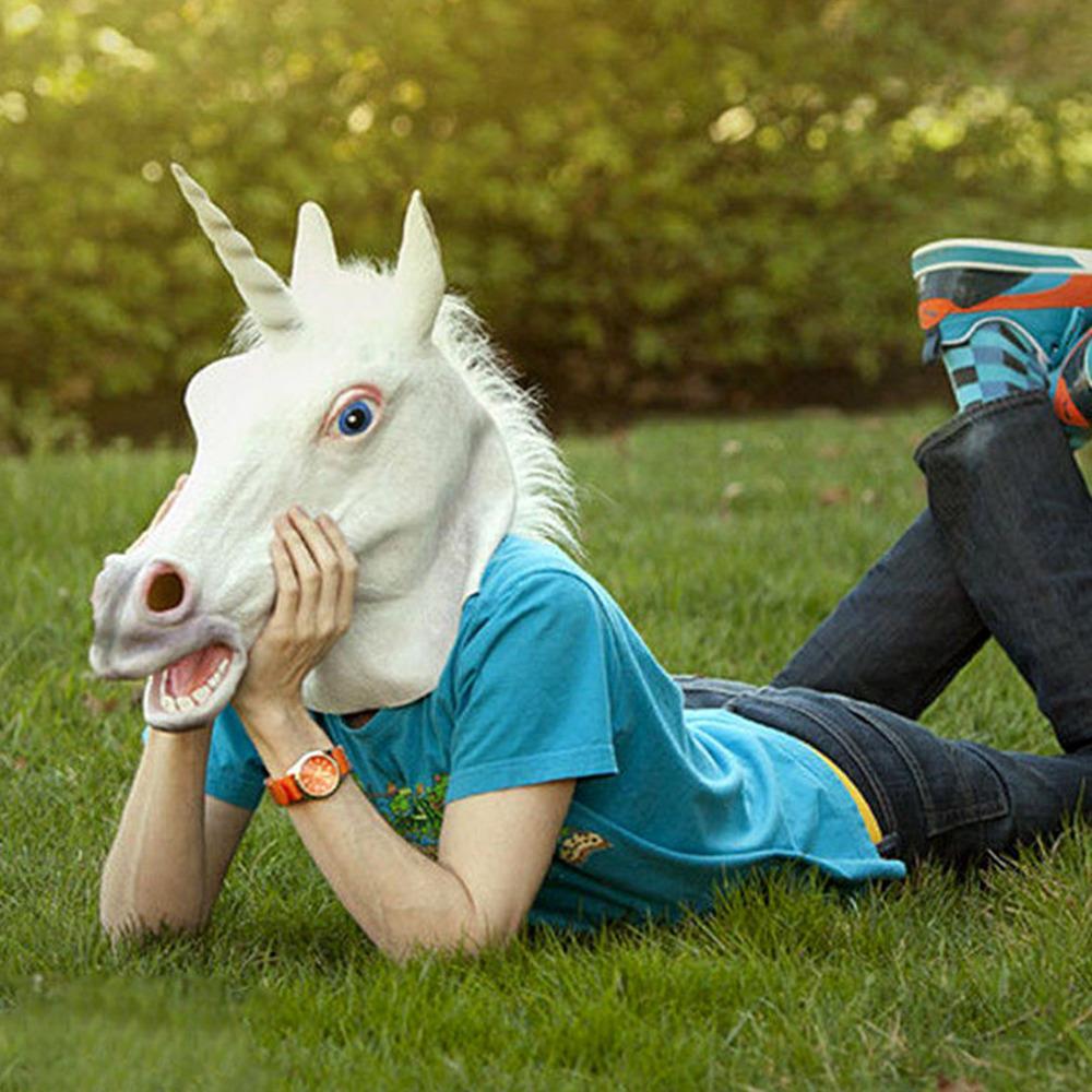 Aliexpress.com : Buy Halloween White Unicorn Horse Head Mask Latex ...