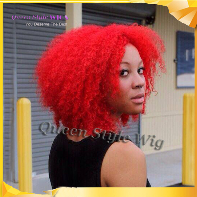 Hot Sale Synthetic Red Hair Wig Hot Red Kinky Crly Hair Synthetic