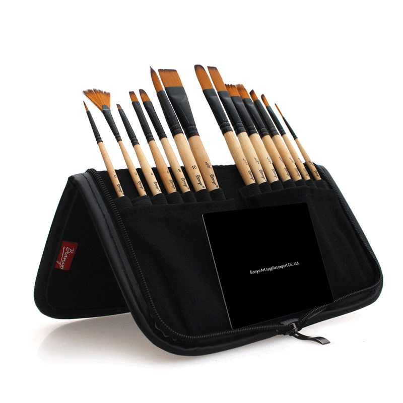 14 шт. кисть для рисования со складывающаяся ручка, сумка, набор для художника, нейлоновые волосы для школы, детский инструмент для рисования, акварельные принадлежности художественные Кисти