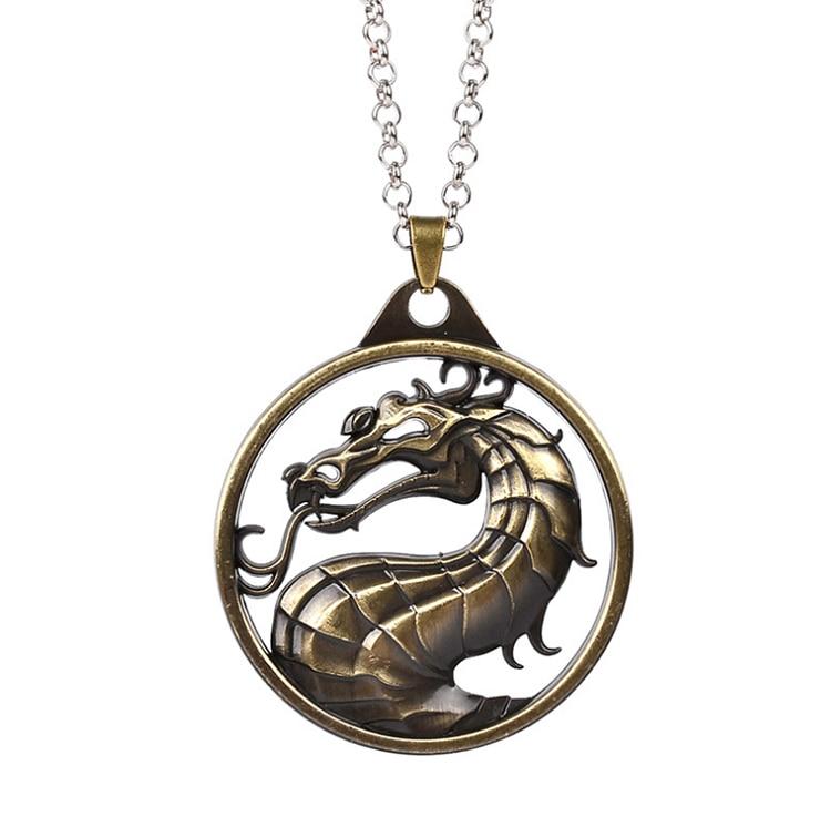 ZRM модный винтажный брелок для ключей Mortal Kombat с изображением дракона тотема, брелок для ключей из сплава, подарок для мужчин, аксессуары для автомобильных ключей - Цвет: Bronze Necklace
