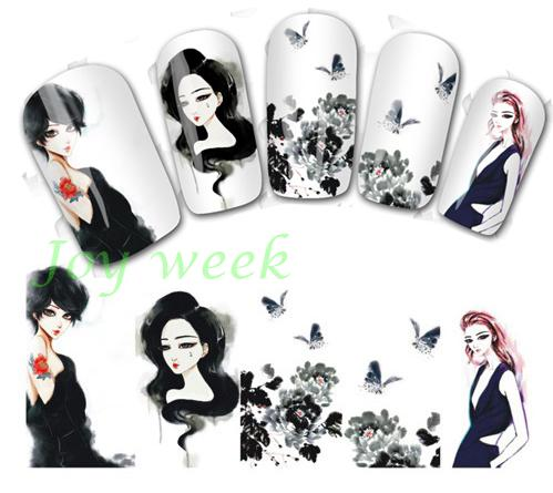 Water sticker for nails art all decorations sliders girl nail stickers design decals manicure lacquer accessoires polish 7 купить
