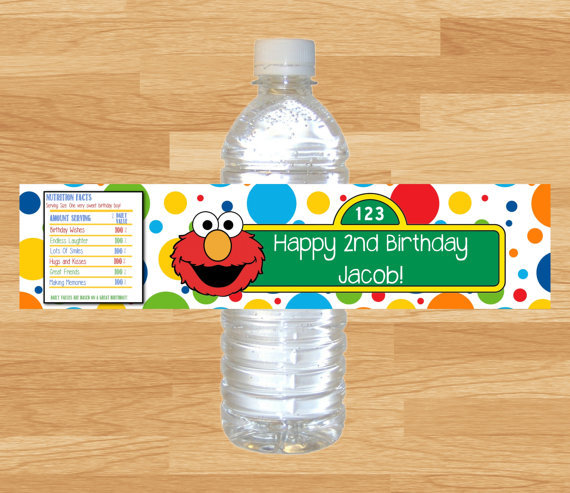 Personalized Sesame Street Elmo Bottle Water Labels Wrappers Baby