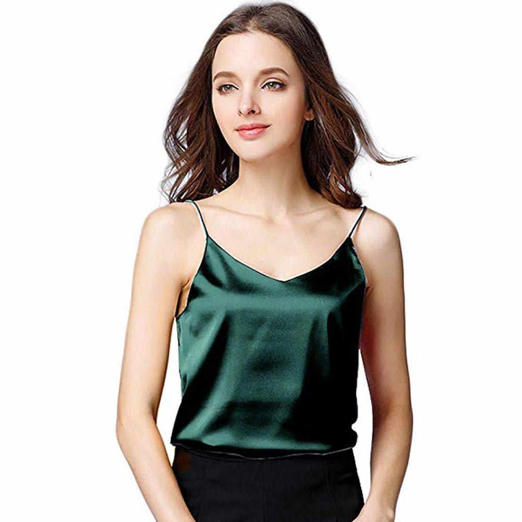 Летние топы женские сексуальные шелковые Женская свободная кофта нижняя рубашка v-образный вырез укороченный, женственный женский футболка мягкий атласный короткий топ