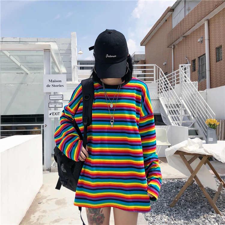 JOYINPARTY Радуга полосатая футболка Осень Harajuku Женская рубашка с длинным рукавом негабаритных футболки для женщин женщина корейские Топы женственный