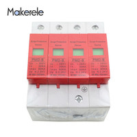 Free Shipping AC Surge Protector Protective Low voltage Arrester Device Protector Relay SPD 4P 30KA~60KA ~420VAC House