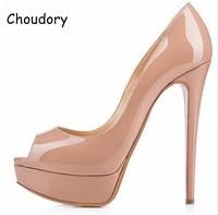 2017 Wedding Party Dress Woman Shoes Peep Toe High Platform High Heels Sandals Nude Black Patent