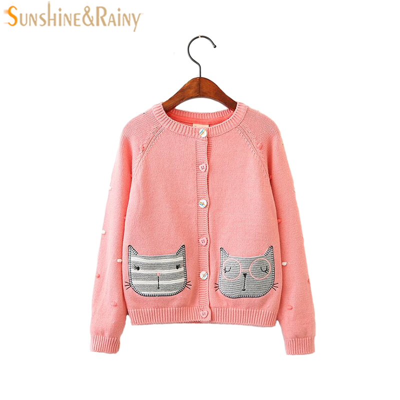 Pink Cartoon Cat Embroidery Girls Cardigan For Kids Sweaters Jackets Spring Autumn Baby Girls Knitted Coat Childrens Outerwear