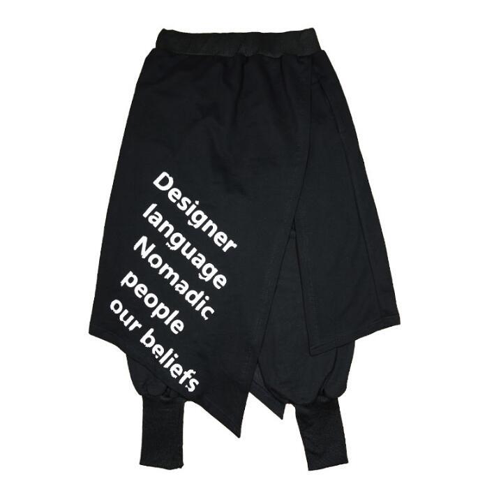 Image 4 - Nuevos pantalones de Hip hop de marea para hombres, personalidad,  club nocturno, DJ culottes falsos, dos faldas, pantalones casuales,  pantalones de peluquero, trajes de actuación para cantantesPantalones  Harén