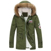 2018 parka men new arrival men's thick warm winter down coat fur collar army green men parka big yards long cotton coat jacket(China)