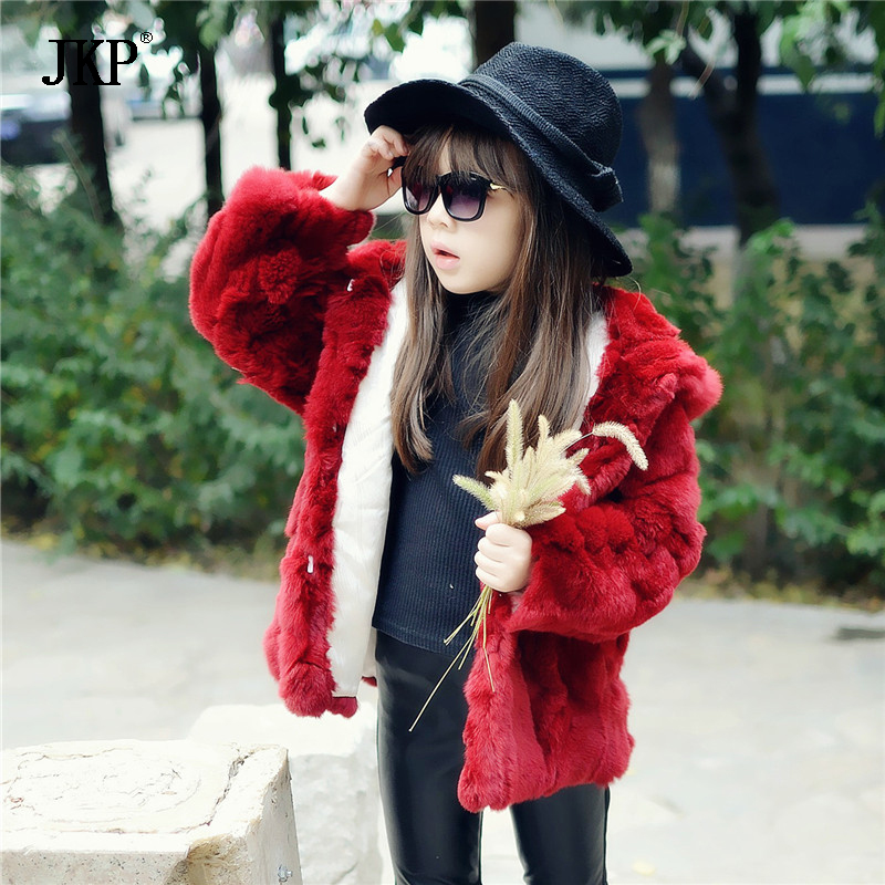 Kids fur coat 100% Real rabbit fur Jacket Children Girls Hooded Rex Rabbit Fur Coat Jacket Clothing fur Outwear extrusion type plastic plants watering can kettle ivory 250ml