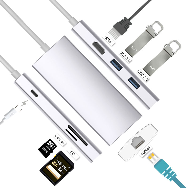 EASYA Thunderbolt 3 USB type C Hub vers HDMI Rj45 1000 Mbps adaptateur USB-C Dock pour commutateur cnc Macbook Pro avec fente PD SD/TF