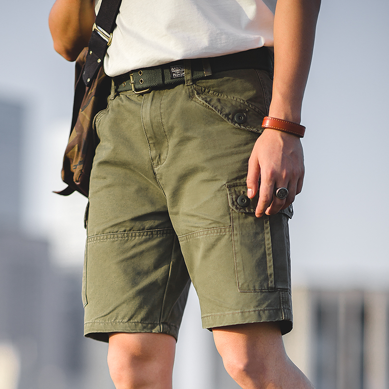 Maden Men's Army Military Olive Green Twill Cargo Shorts Regular Fit Above Knee Summer Short With Adjustable Waist Multi-Pocket