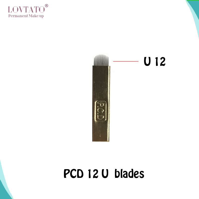 2018 Agulhas 100pcs Pcd 12 U shape Blades Permanent Makeup Manual Eyebrow Needles For Tattooing Hard Microblading Needle 3d in Tattoo Needles from Beauty Health