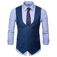 Лучший!  2019 осень новая мужская мода U-образным вырезом сплошной цвет костюм жилет мужской двубортный случа