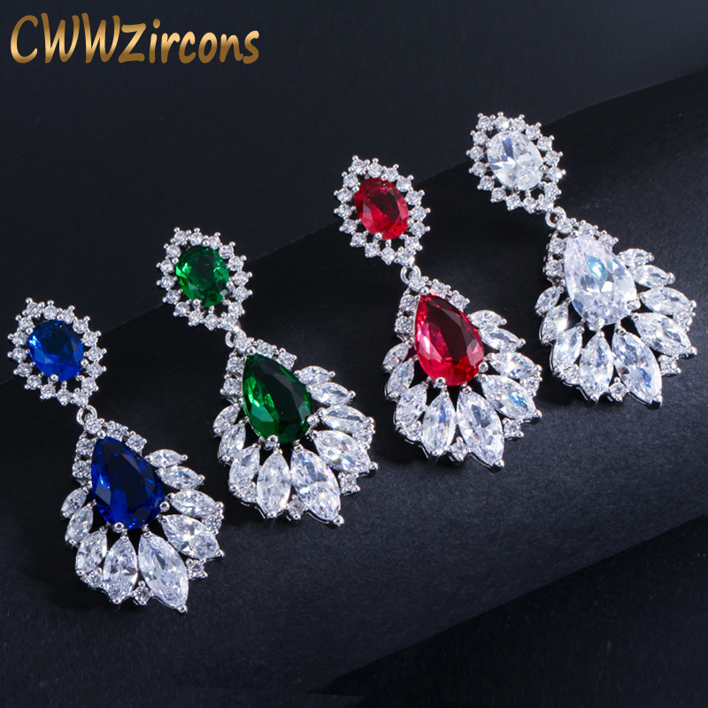 CWWZircons Elegant Lysekroner AAA + Cubic Zirconia Lang Big Crystal Brude Dangle Drop Earring For Bryllup Smykker CZ202
