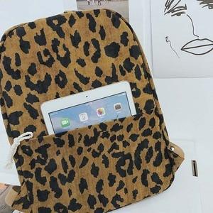 Image 4 - Модный женский рюкзак с леопардовым принтом, вельветовый дорожный рюкзак с двумя ремнями, вместительный школьный рюкзак на плечо для девочек, XA587WB