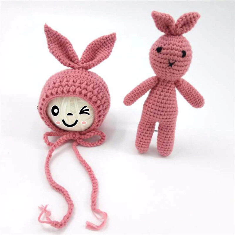 Newborn Photography Prop Cute Bunny Costumes Baby Clothing Baby Girl Boy Knit Crochet Hat Rabbit Toy Photography Prop