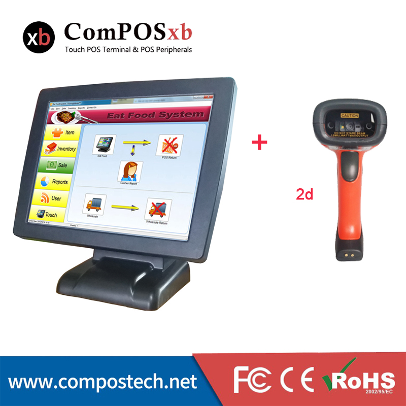 15 inch touch screen pc POS machine terminal POS system With 2d Scanner For Supermarket cash register POS2120 2d wireless barcode area imaging scanner 2d wireless barcode gun for supermarket pos system and warehouse dhl express logistic