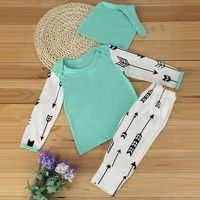 3pcs Newborn Infant Baby Toddler Boys Girls Suit Set Arrow Long Sleeve T Shirt Tops Pants