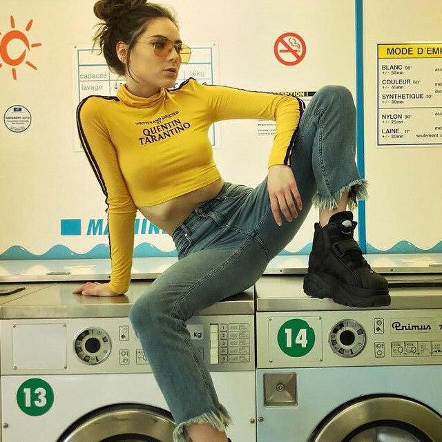 InstaHot 2018 mode Quentin Tarantino Sexy récolte hauts femmes côté rayure à manches longues col roulé coton tricoté t-shirt court dame