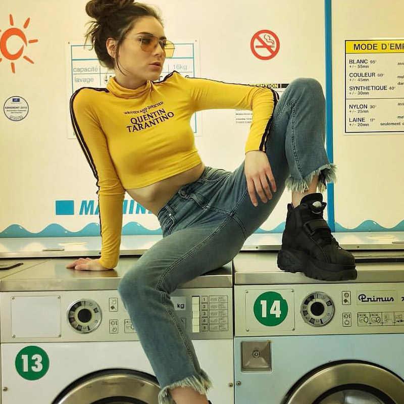 InstaHot 2018 mode Quentin Tarantino Sexy haut court femmes côté rayure à manches longues col roulé coton tricoté t-shirt court dame