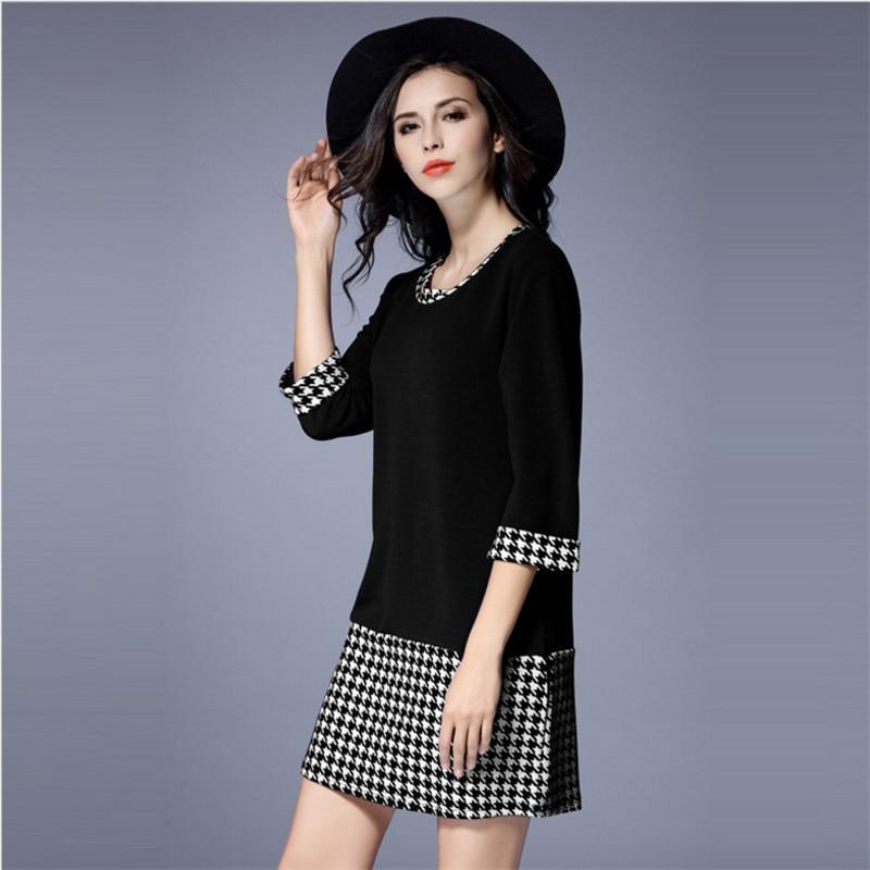 Aliexpress Buy L 5xl Plus Size Houndstooth Dress Women O Neck
