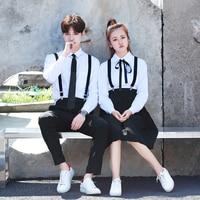 Korean School Uniform Girls Jk Navy Sailor Suit boy Japanese School Uniform Cotton White shirt +Straps Skirt for Summer autumn