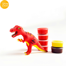 DIY Dinosaur Clay Cotton Charm Play Playdough Suit With Skeleton Model Maker Putty Kit Polymer Arena Tool Archeology Kids Toys