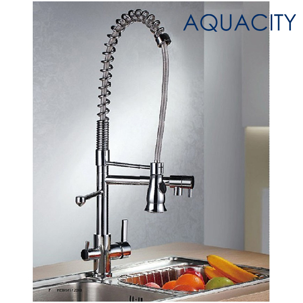 Free Shipping Pull Down Kitchen Faucet with Purified Water Outlet Pull out Spring Spout Kitchen Vanity