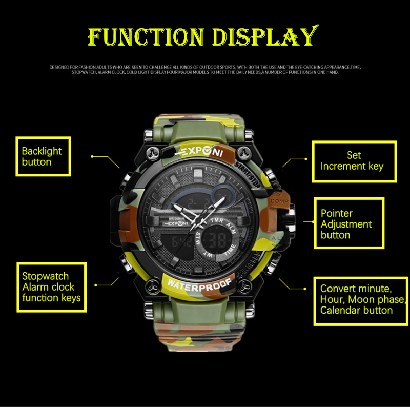 fc92af947 EXPCNI Military Watch Men Camo Analog Army Sport Wristwatch LED Digital  Watches Waterproof Shockproof Automatic Watch Male Clock-in Digital Watches  from ...