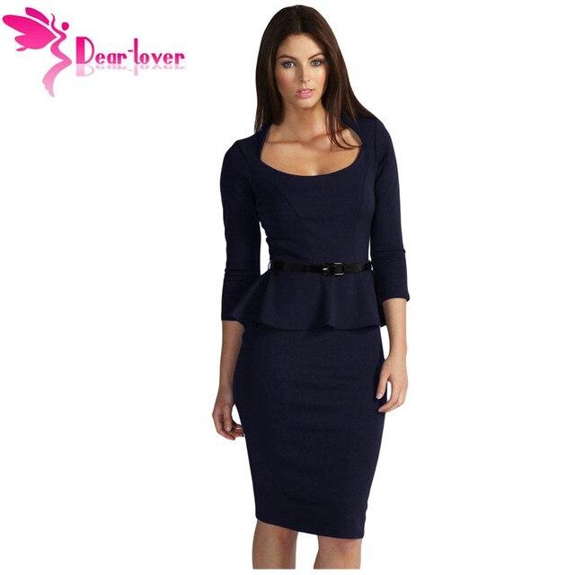 4f6999bba Querido-Amante Vestido de la Oficina de Otoño 2016 Más Tamaño XL Azul  Oscuro de