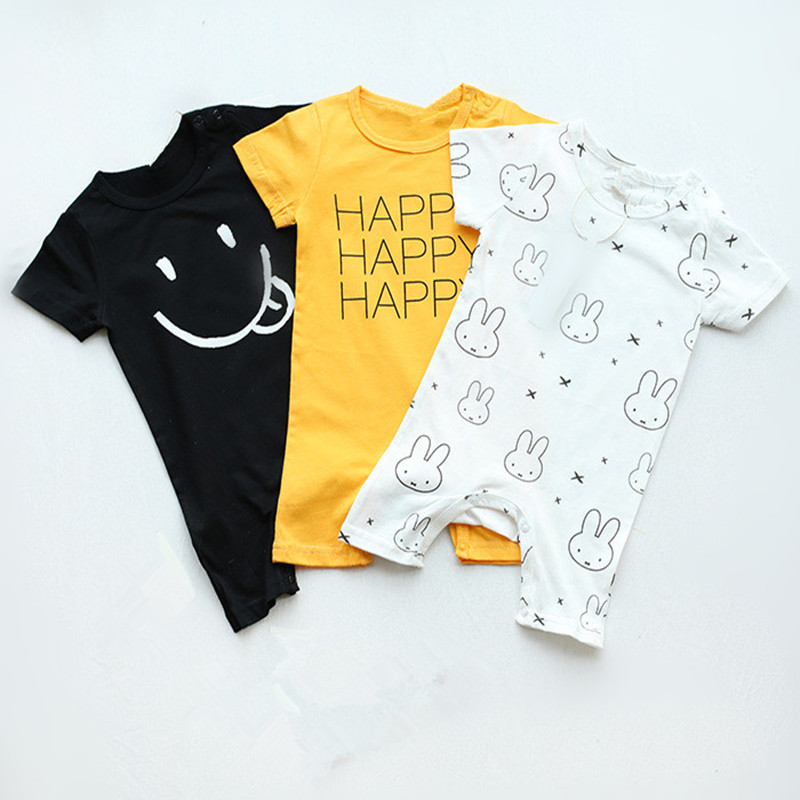 Cute Baby Rompers Tiny Cottons 2018 Baby Girl Summer Clothing Newborn Boys Jumpsuit Short Sleeve Letter Animal Pattern Clothes