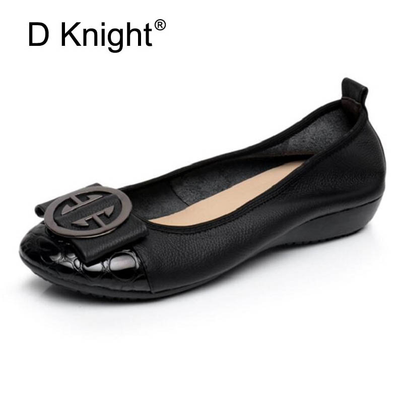 Genuine Leather Women Soft Flats Metal Design Light Loafers 2018 New Spring Nurse Flats Women Causal Shoes Slip-on Ladies Shoes new arrival soft leather shoes women flats fashion design square toe comfortable women s flats office ladies brand shoes