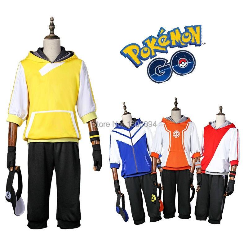 Anime Pokemon Go Costume Adult Men Pokemon Pocket Monster Team Valor Instinct Mystic Cosplay Costume Hat Red Halloween Costume