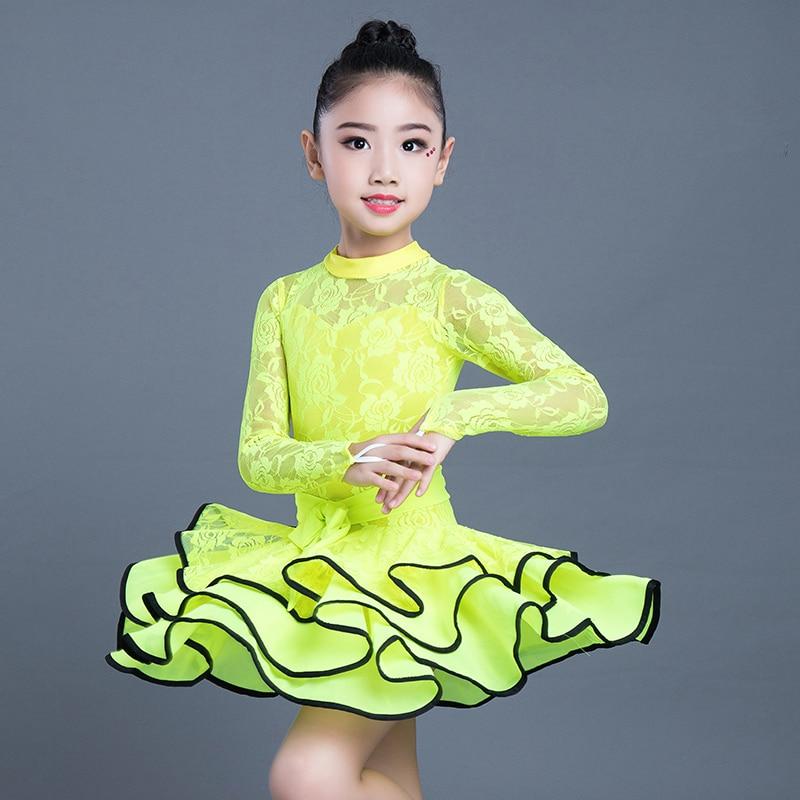 Robe de danse latine pour enfants Standard dentelle de Fiber de lait à manches longues Salsa Samba robes de danse pour enfants 5 couleurs DL3192