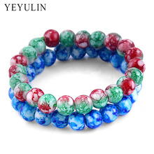 New Arrival 8mm Blue Red Green stone Beads Bracelet For Women Girl Trendy Bangles Jewelry Drop shipping