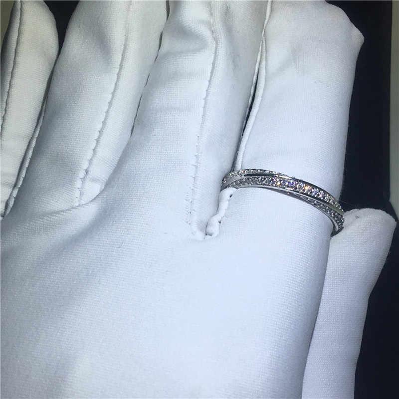 Choucong חוט ציור טבעת אמיתי 925 סטרלינג כסף AAAAA cz אבן אירוסין נישואים טבעות נשים גברים תכשיטי אצבע