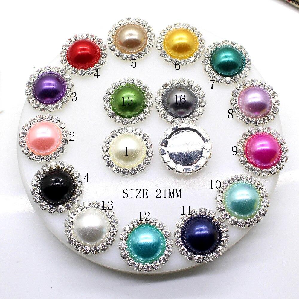 ZMASEY Fashion New 10Pcs/lot  21mm rhinestones diamond button Mix Color Pearl button Wedding DIY Handwork Sewing girl hair Decor
