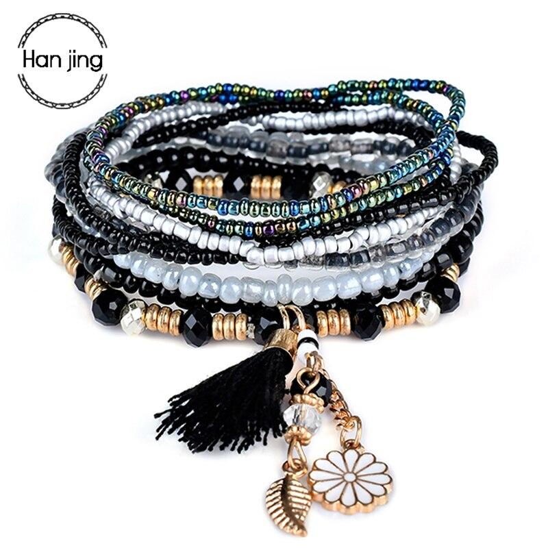 Bohemian Black Multilayer Beads Bracelets Bangles For Women Accessories Boho Flower Leaf Tassel Charm Bracelet Gifts Pulseras