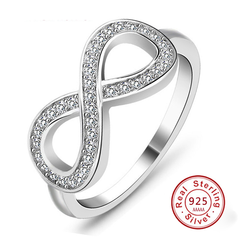 Fashion 925 sterling silver sterling-sølv-smykker cz Infinity Endless Love claddagh 8 form Ringer For Women JZ31 anel feminino
