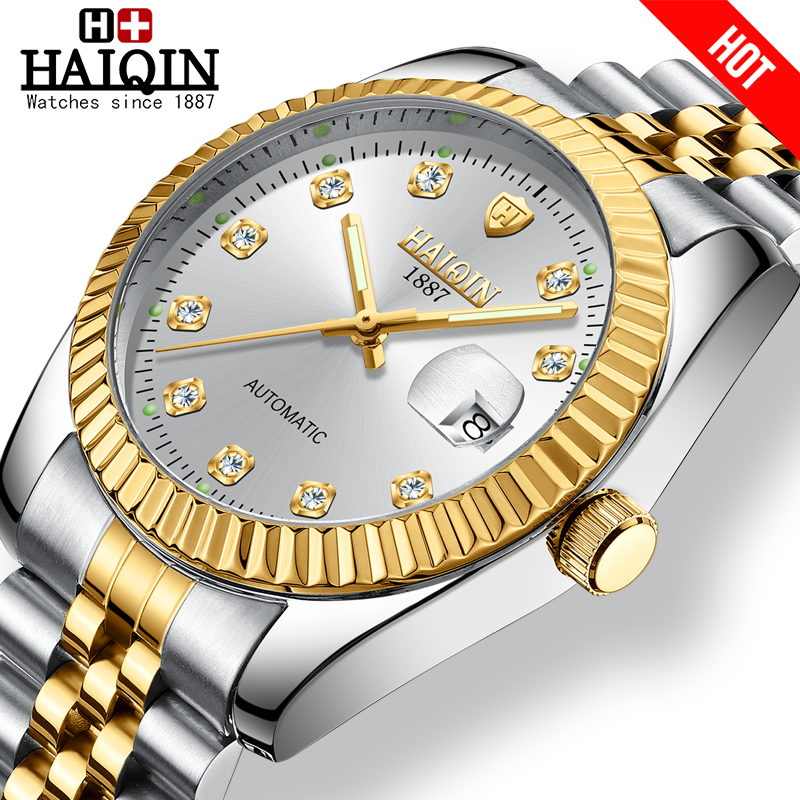 HAIQIN Women's Watches Gold Mechanical Women Watch WoMens Watches Top Brand Luxury Clock Ladies WristWatch Lady Relogio Feminino