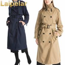 Autumn winter trench coat with belt double breasted long-sleeved solid lapel long Laipelar European Trench for Women