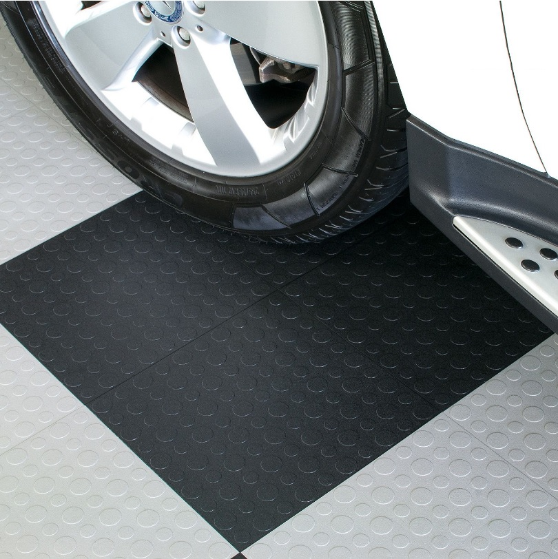 Modular Interlocking Garage Gym And Utility Vinyl Flooring Tiles,  450x450mm, Thickness 4/5