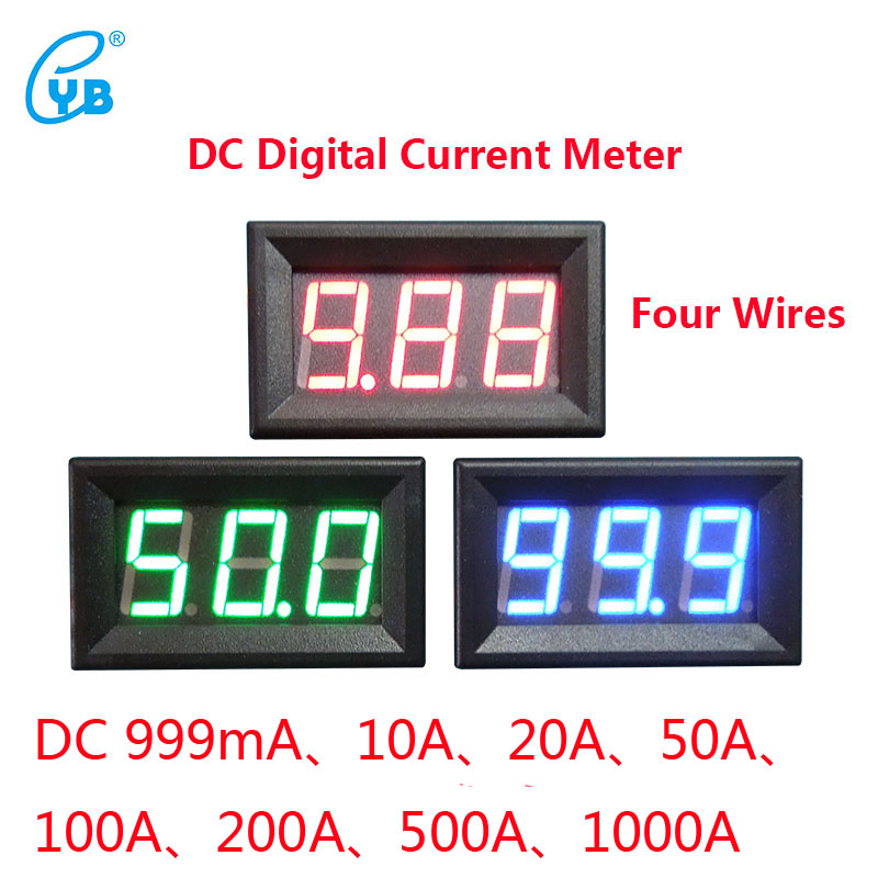 YB27C DC LED Digital Ammeter DC Digital Ammeter DC 999mA 10A 20A 50A 100A 200A 500A 1000A Current Meters Amper Current Meter