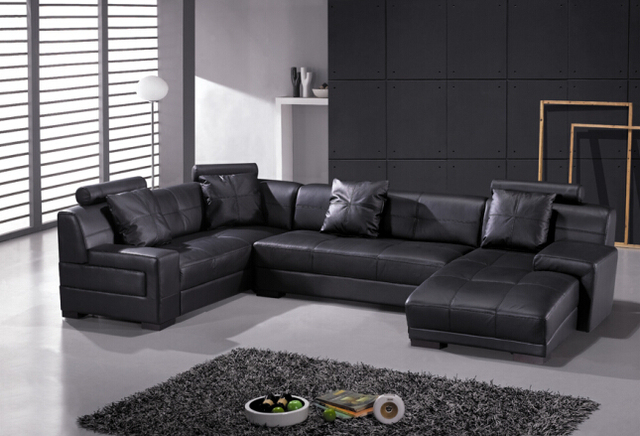 Modern leather corner sofa for genuine leather sofa sectional ...