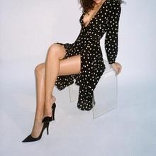 100% Silk Violette - black & white spot polka dot print long sleeve deep v neckline 3/4 mid length women vintage long wrap dress