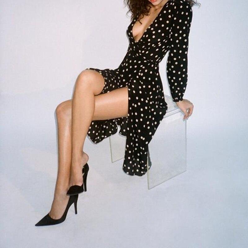 100% soie Violette-noir & blanc spot imprimé à pois manches longues profonde décolleté en v 3/4 mi-long femmes vintage longue robe portefeuille
