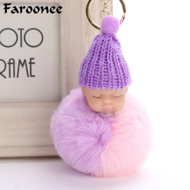 Bonito Cor Duplo Dormir Baby Doll Chaveiro Faux Pele De Coelho Bola Pompom Mulheres Fofo Chaveiro Saco Chaveiro Pingente 6C0129