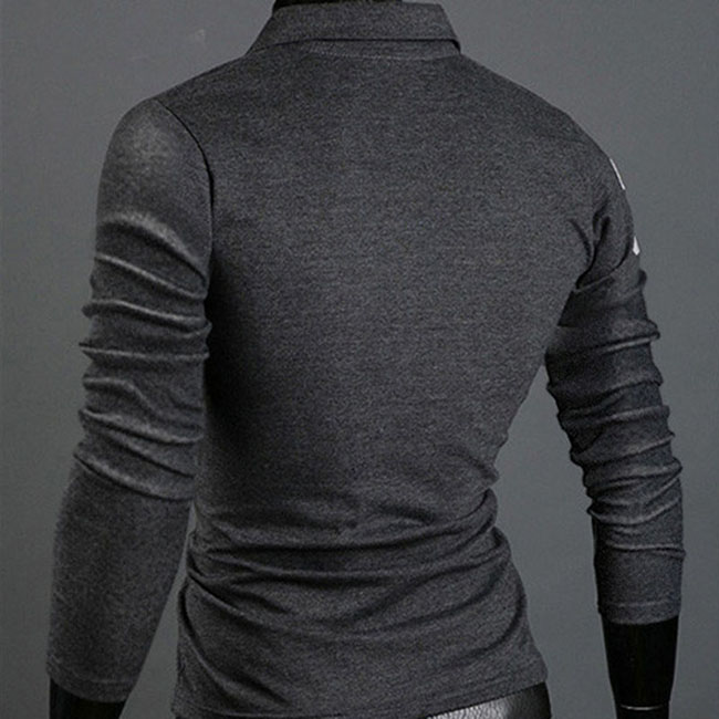 1 Pcs Men T-shirt Top Tee Lapel Long Sleeve Casual Fashion for Autumn Winter Party FS99
