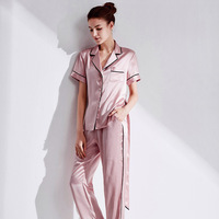 Silk Nightwear Lady Suit 100 Real Silk Home Pajama Sets Simple Pure Color Short Sleeved Trousers